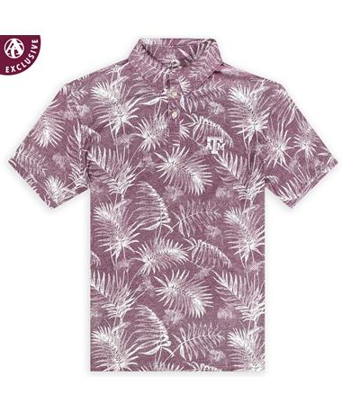 Texas A&M Tropical Button Down Polo - Front Berry