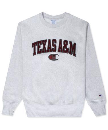 Texas A&M Champion 100C Reverse Weave Crew Sweatshirt-Front Grey