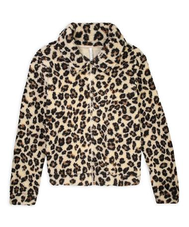 Leopard Sherpa Crop Full-Zip Jacket-Front Natural