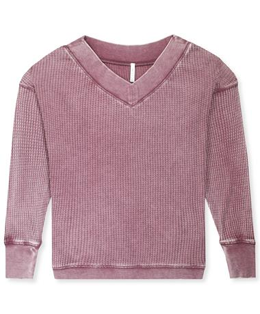 Women`s Long Sleeve Emilia Thermal Top Mauve Wine