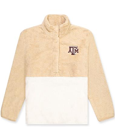 Texas A&M Women`s Fuzzy Fleece Pullover CAMEL/NATURAL