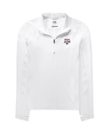 Texas A&M Cutter & Buck Ladies Traverse Half-Zip - White - Front WHITE