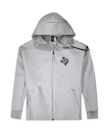 Texas A&M Adidas Zone Full-Zip Hooded Jacket Grey