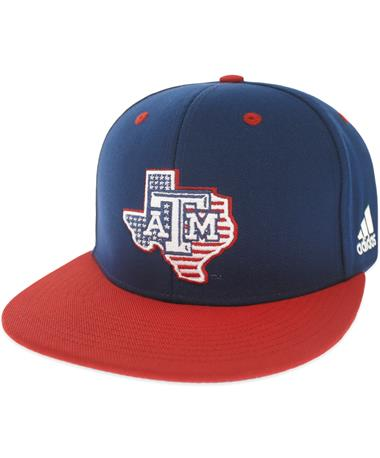 Texas A&M Adidas Lone Star Patriotic Fitted Baseball Cap - Angled Navy
