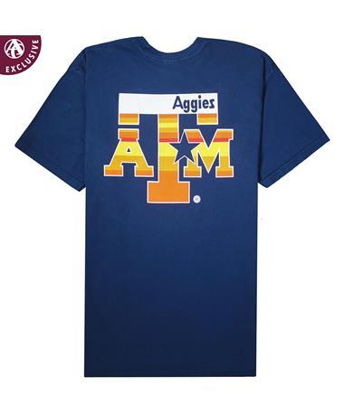 Texas A&M Aggies Blue & Orange Star T-Shirt - Back Navy