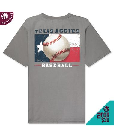 Texas A&M Baseball Flag T-Shirt - Back Grey