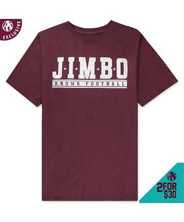 Jimbo Knows Football Athletic T-Shirt - Front Maroon