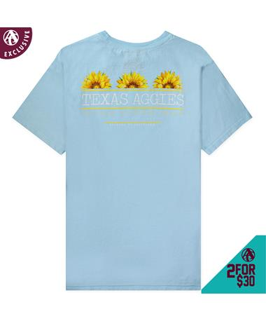 Texas A&M Welcome to Aggieland Sunflower T-Shirt - Back Chambray