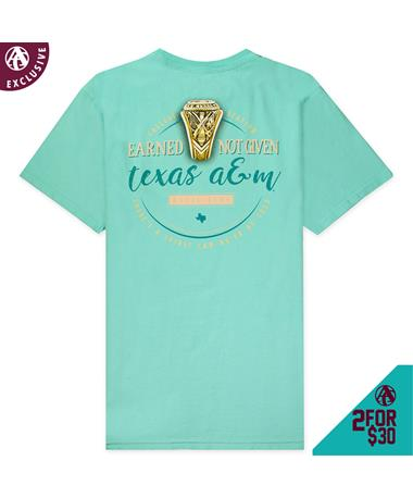 Texas A&M Aggie Ring Spirit T-Shirt - Back Chalky Mint