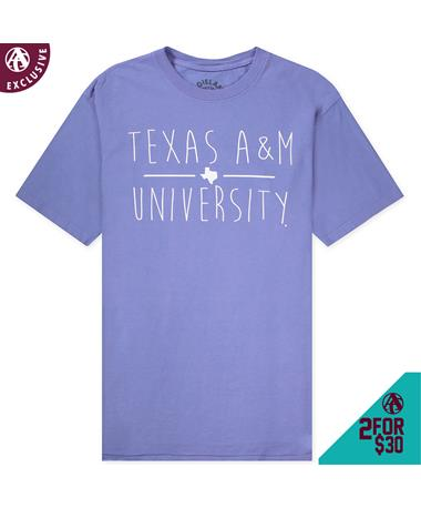 Texas A&M University Basic T-Shirt - Front Periwinkle