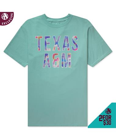 Texas A&M Paintbrush T-Shirt - Back Chalky Mint