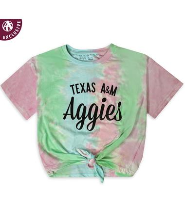 Texas A&M Aggies Tie-Dye Front Tie Crop Top