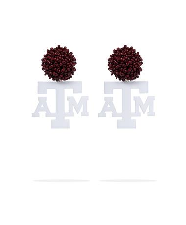 Texas A&M Acrylic ATM Logo with Maroon Beads Earring-Front White