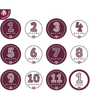 Texas A&M Lil` Ags First Year Monthly Stickers - All 12 MAROON/ WHITE