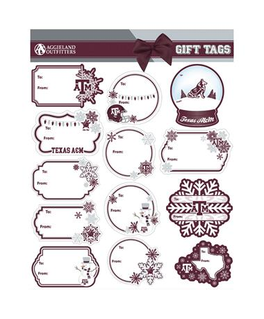 Texas A&M Holiday Gift Tag Sticker Set MAROON