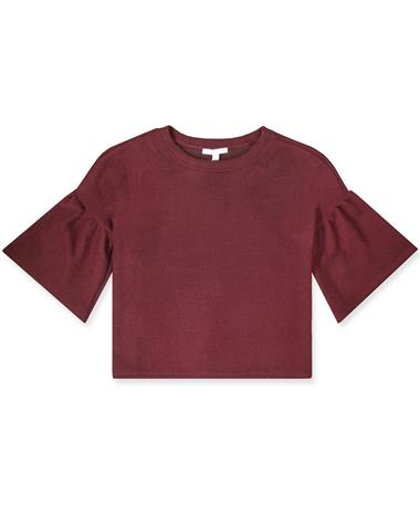 Maroon Bell Sleeve Rib Knit Top - Front PLUM