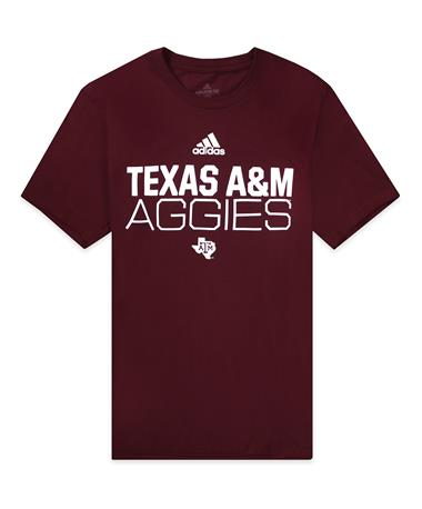 Texas A&M Adidas Locker Stacked Amplifier Tee - Front Maroon