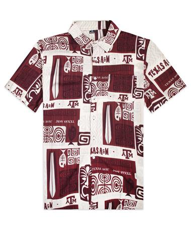 Texas A&M Tiki Floral Button Up - Front Maroon/ White