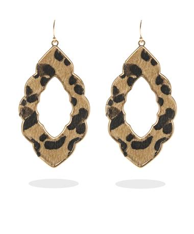 Leopard Print Dangle Earrings - Front GOLD