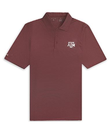 Texas A&M Antigua Quest Stripe Polo Maroon/White