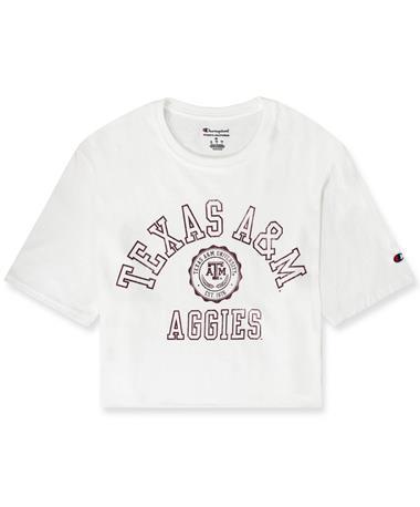 Texas A&M Aggies Champion Women`s Boyfriend Crop Tee - Front White