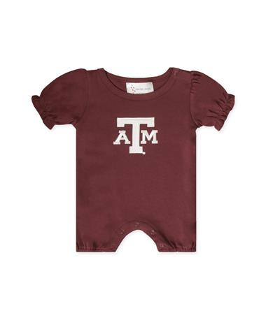 Texas A&M Infant Ruffle Sleeve Romper-Front MAROON