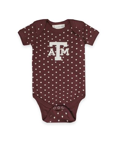 Texas A&M Infant Heart Lap Shoulder Creeper MAROON