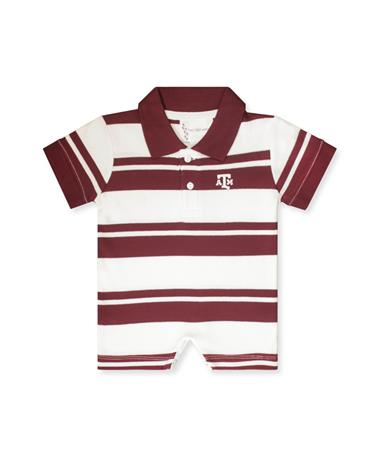 Texas A&M Boys Rugby Romper-Front MAROON