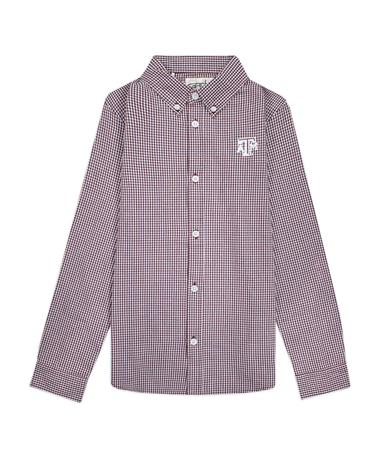 Texas A&M Garb Cole Youth Woven Gingham Button Down