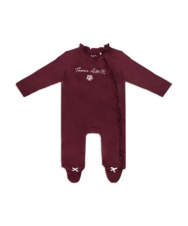 Texas A&M Vivian Infant Long Sleeve Peplum Onesie