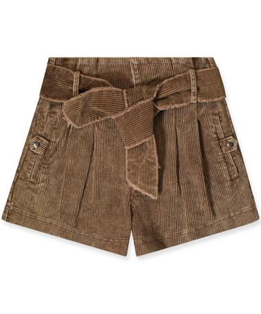Women`s Belted High Waist Woven Corduroy Shorts BROWN
