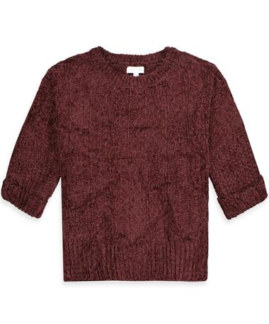 Maroon Chenille Cable Knit Top - Front WINE