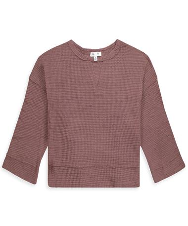 Maroon Waffle Thermal Long Sleeve Top - Front RED BEAN