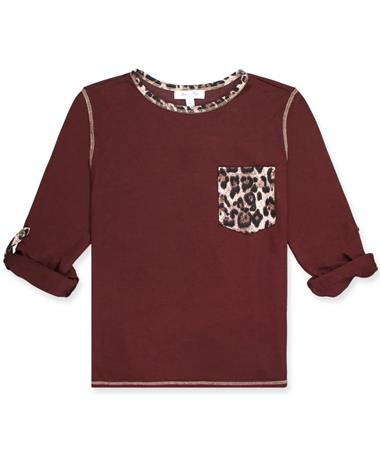 Maroon Knit Thermal Top With Leopard Pocket WINE