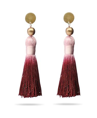 Maroon & Pink Tassel Earrings