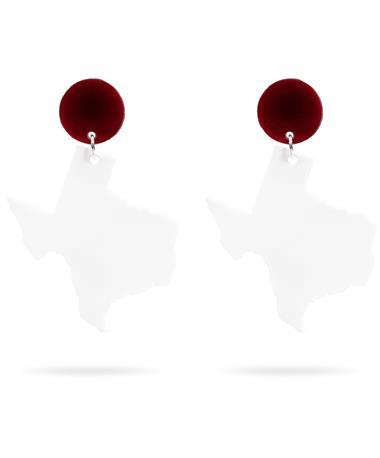 Acrylic Maroon & White Texas Small Earrings