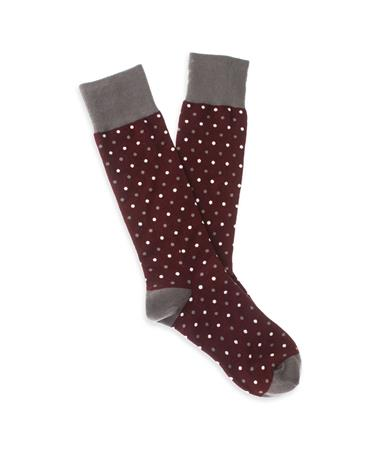 Maroon Dotted Men's Dress Socks