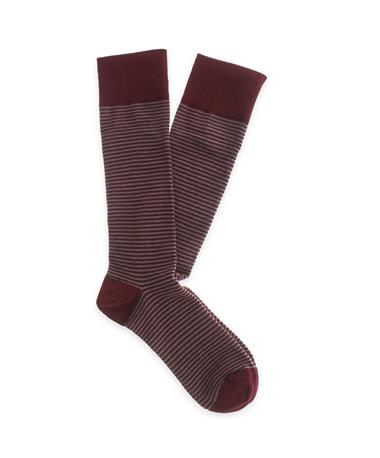 Maroon Men`s Mircostriped Dress Socks Maroon/ Grey