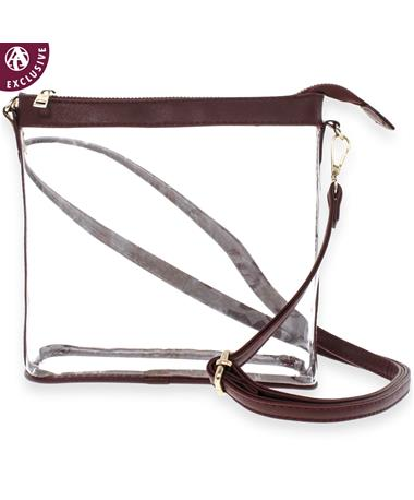 Maroon Leather Clear Crossbody - Front Maroon