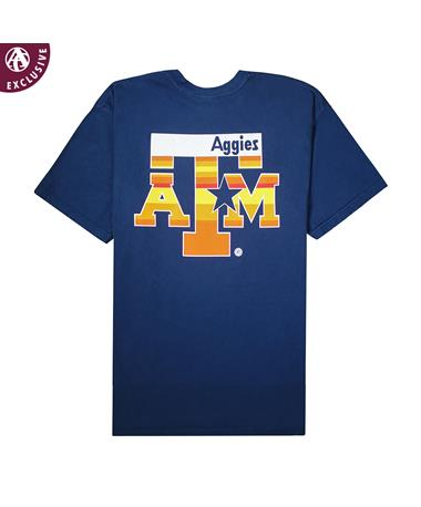 Texas A&M Blue & Orange Star Youth T-Shirt - Back NAVY