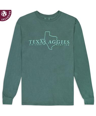 Texas A&M Aggies State of Texas Long Sleeve T-Shirt - front C6014 BLUE SPRUCE