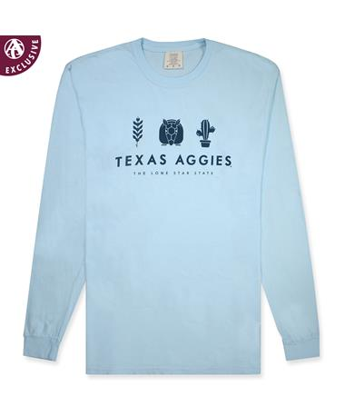 Texas A&M Lone Star State Long Sleeve Tee -Front C6014 CHAMBRAY