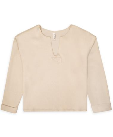Long Sleeve V-Neck Waffle Top - Front Natural