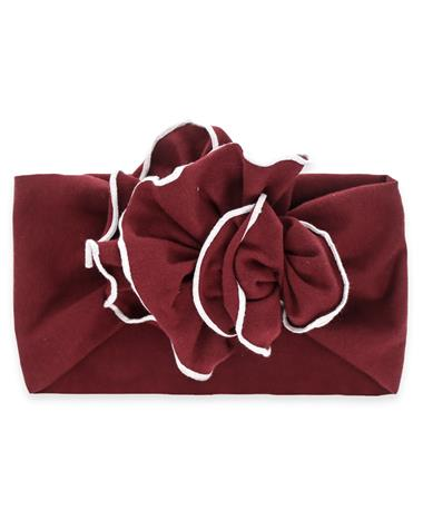 Maroon Jersey Flower Toddler Headband - Front Burgundy