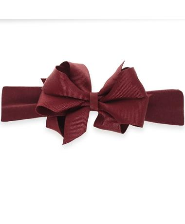 Maroon Infant Mini Double Bow On Lycra Headband Burgundy