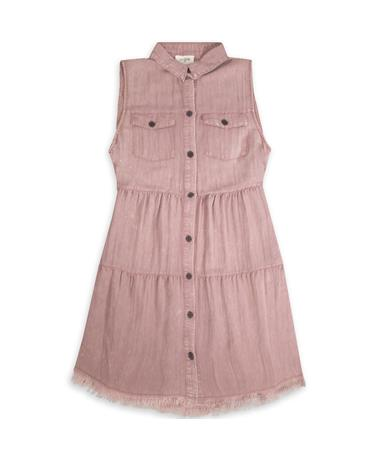 Mauve Sleeveless Button Down Dress - Front Mauve
