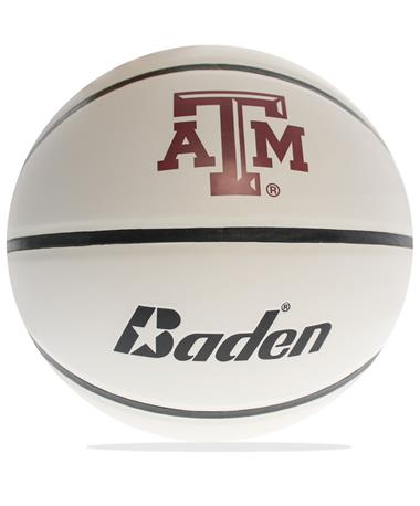 Texas A&M Custom Autograph Basketball-Front BROWN/WHITE