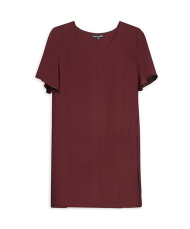 Maroon V Neck Slouch Dress - Front WINE