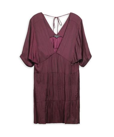 Maroon Deep V Tiered Baby Doll Dress - Front WINE