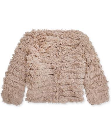 Women`s Long Sleeve Layered Faux Fur Jacket MOCHA